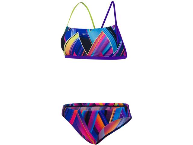 speedo Fizzbounce 2 Piece Crossback Bikini Dame violet/limepunch/turquoise